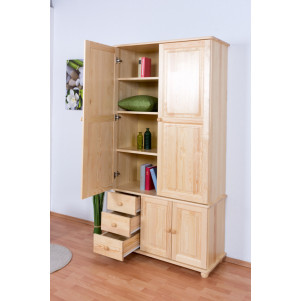 Armoire bois de pin massif naturel Junco 38 - Dimensions 195 x 102 x 42 cm (H x L x P)