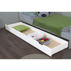 Drawer for bed- pine solid wood white lacquered 003- Dimension  18,50 x 198 x 54 cm (H x W x D)